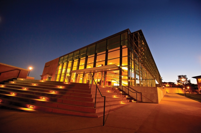 Exterior of Soka PAC in the evening