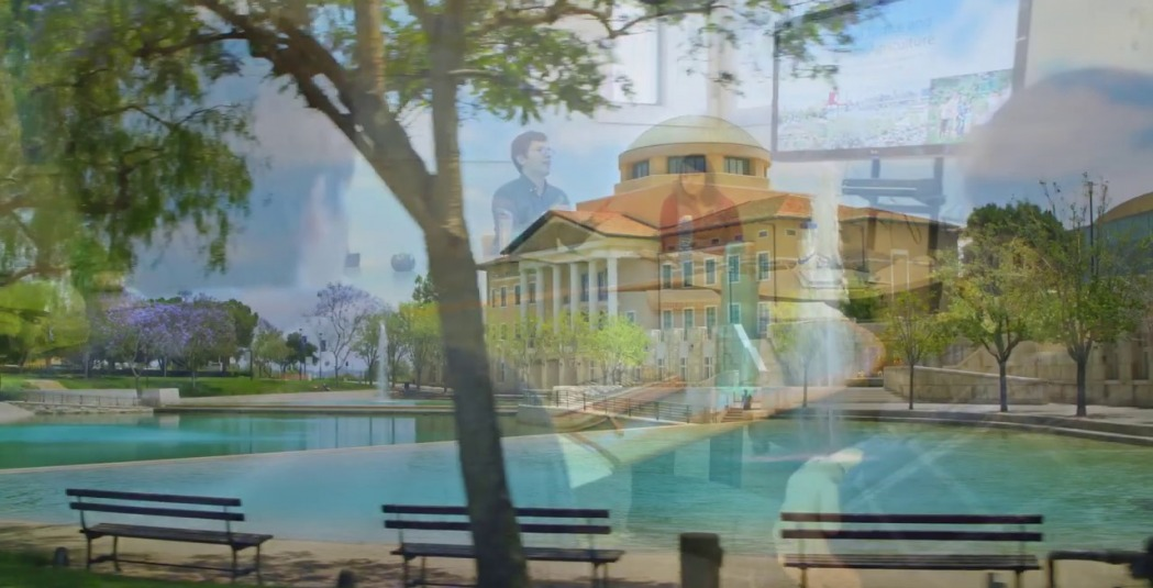 Montage of Founders Hall and a Soka classroom scene