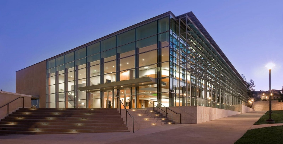 Exterior of Soka Performing Arts Center at night