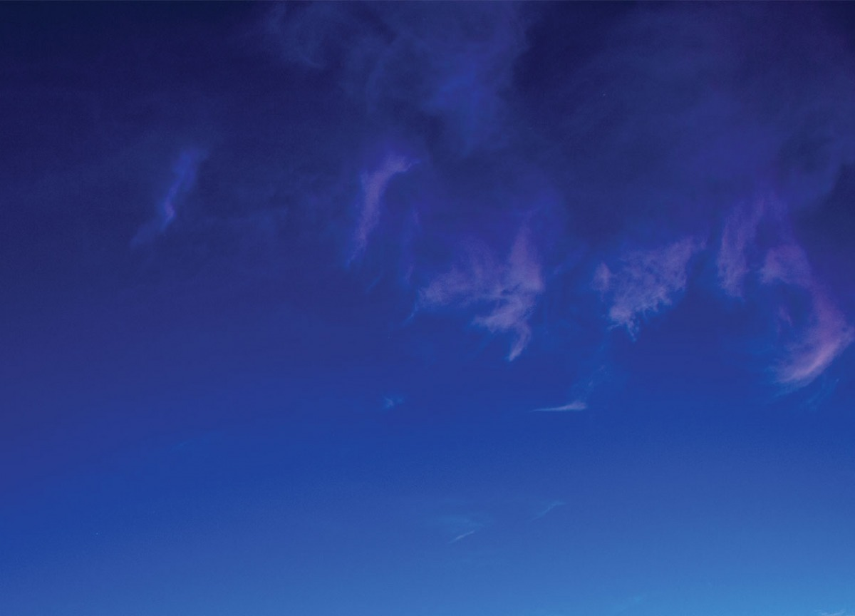 Dark blue sky at night above Soka