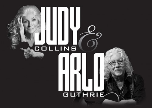 Black & white photo of Judy Collins and Arlo Guthrie