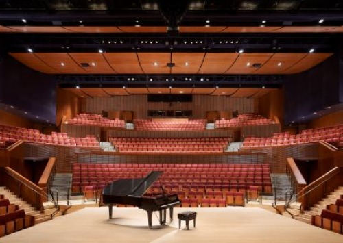 Interior View of Concert Hall with Piano on stage