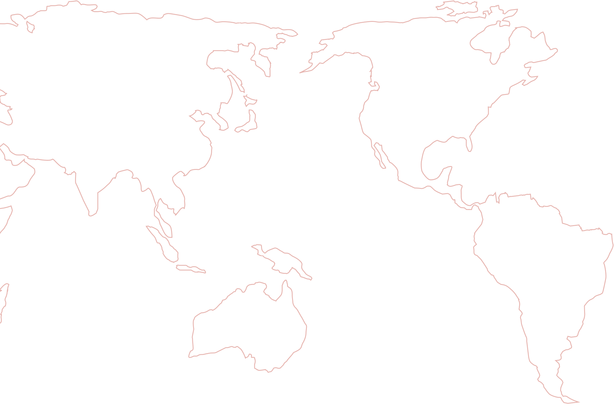 Outline map of Oceana, North and South America