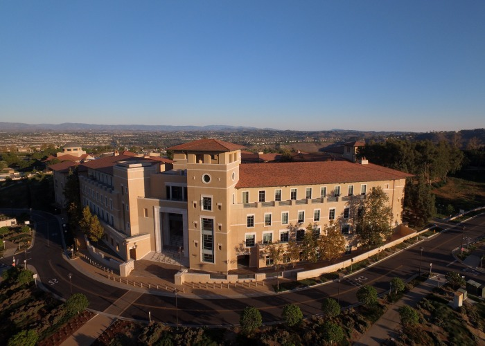 Panoramic exterior of library