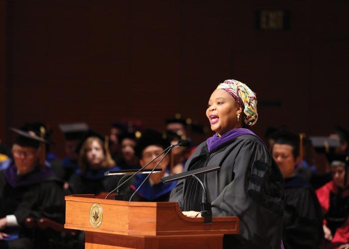 Commencement speaker Leymah Gbowe