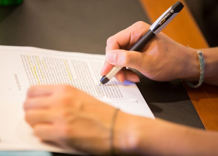 Student writing.