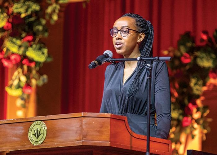 Christelle Inema speaks at Peace Gala