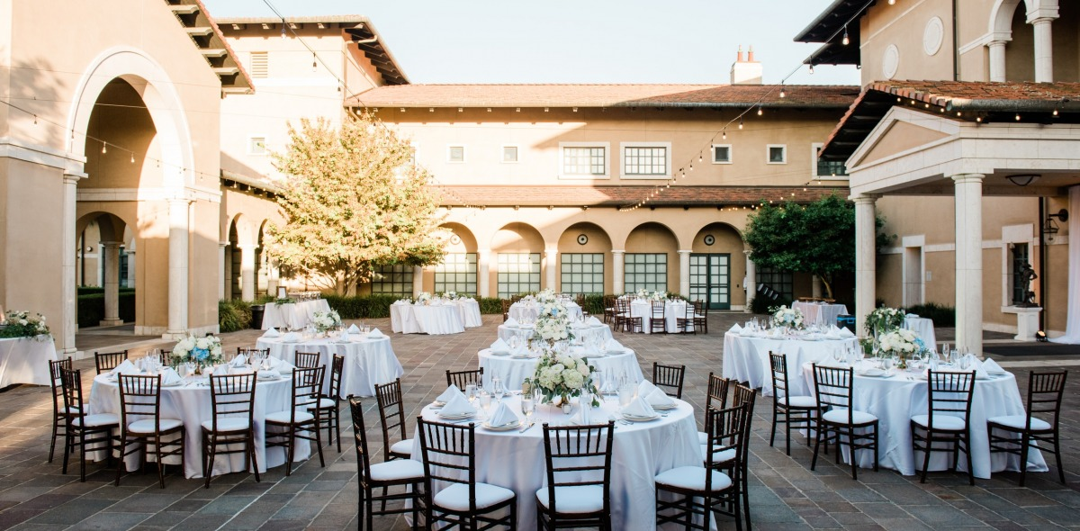 Image of Athenaeum courtyard event set up.