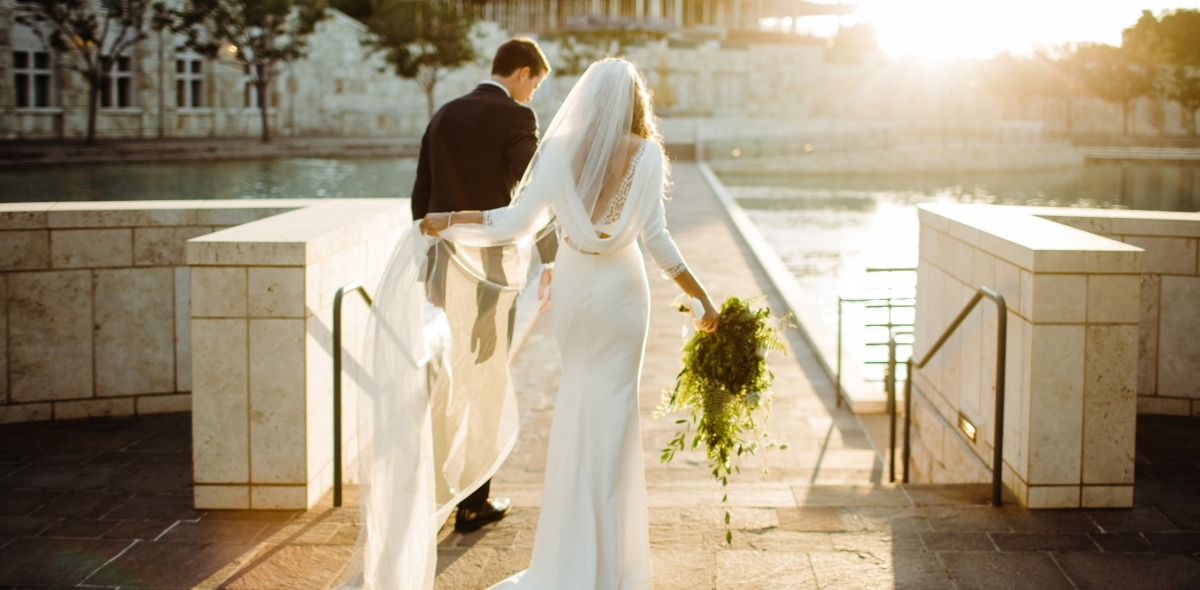 Image of a bride and groom at Peace Lake.