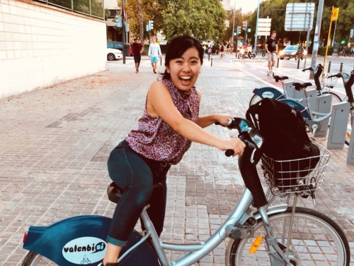 Hinako with bicycle in Valencia, Spain