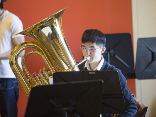 Image of student playing tuba