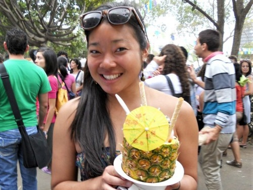 image of student holding pineapple