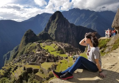 Study abroad photo of a student at Macchu Picchu, Peru.