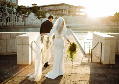Soka University Peace Lake and bride and groom