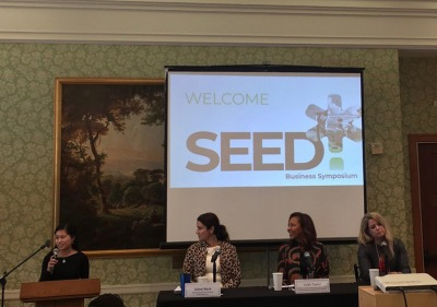 Photo of panel speaking at the SEED Symposium