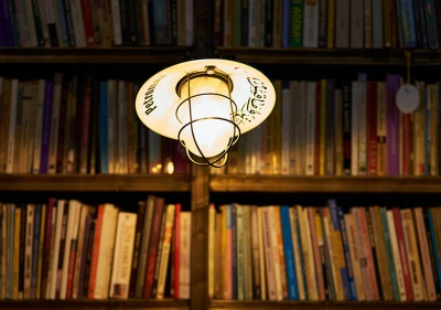 Light above bookshelf