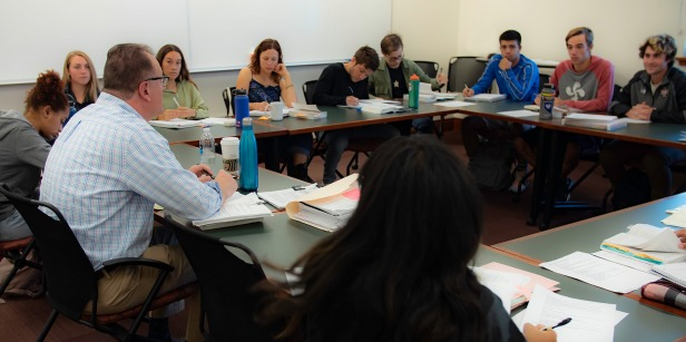 Professor leads class discussion at Soka