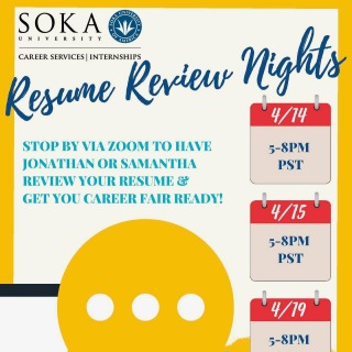 Stop by @sokacareerservices IG to sign up for a resume review this week or next. Get the edge in the job market.