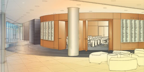 Illustration of donor wall in science building