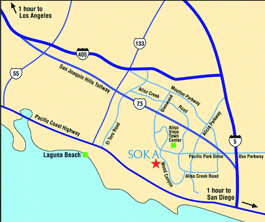 Soka University map of freeways around campus