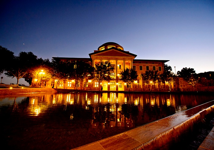 Soka Founders Hall lighted up in the evening