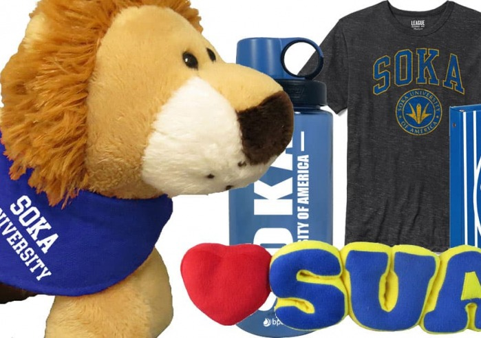 Variety of merchandise available at SUA bookstore, including a stuffed lion, water bottle and t shirt