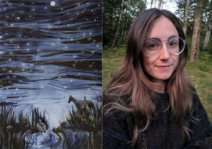 painting of a starry night and portrait of Nina Boutin