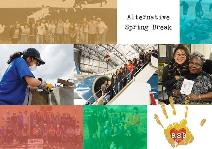 Collage showing students participating in Alternative Spring Break activities