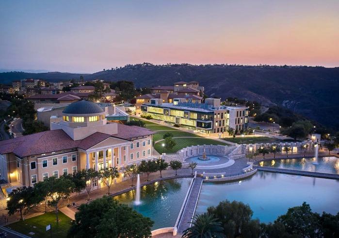 Soka campus aerial view at night