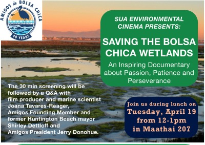 Bolsa Chica guest lecture flyer.