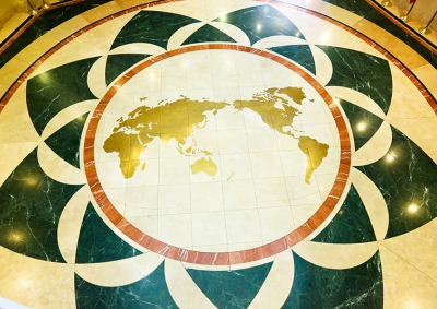 Inverted world map on the floor of Founders Hall atrium