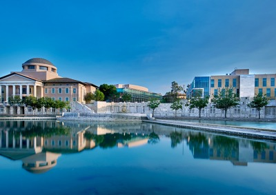 View of Soka campus over Peace Lake